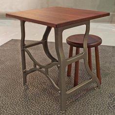 Vintage Industrial Table & Stool