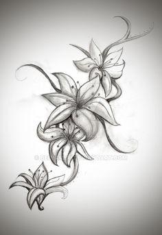 Ten Various Ways To Do Lily Tattoo Designs For Shoulder Tattoos Skull, Leg Tattoos, Body Art Tattoos, Sleeve Tattoos, Tattoo Hip, Ribbon Tattoos, Lily Tattoo Sleeve, Tribal Tattoos, Lilly Flower Tattoo