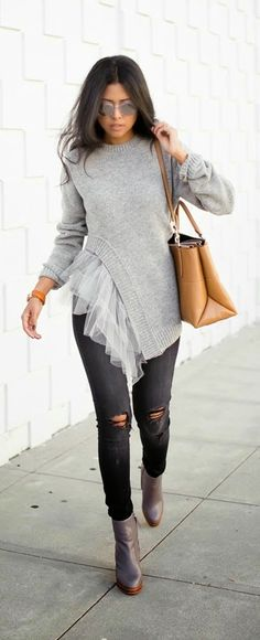 This outfit is super fun. Love the interesting sweater. And I love dark grey fine wale cords too. Faux Tulle Frill Sweater , Ripped Denim , Grey Heeled Boots