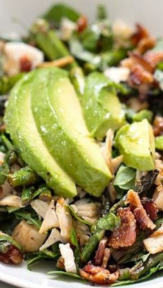 Chicken Bacon Avocado Salad with Roasted Asparagus. Maybe use a roasted chicken from the grocery store?