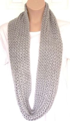 I will make one of these in my life. Chunky Knit Large Circle Loop Cowl Scarf Snood Grey