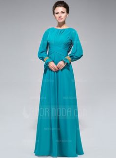 Fancy - A-Line/Princess Scoop Neck Floor-Length Chiffon Mother of the Bride Dress With Ruffle Beading Sequins (008047382) - AmorModa