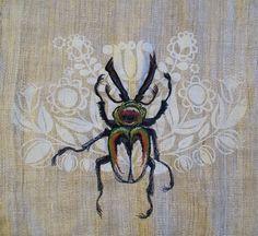 Tara Badcock | Rainbow Stag Beetle | hand + freehand machine embroidery | hand-woven + printed hemp | Tasmania, Australia | 2012