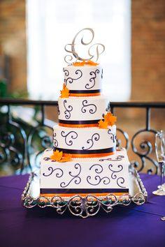 Orange and Purple Wedding Cake  Vibrant and Fun!   www.merrymakingevents.com  Photo: 2&3 Photography  Cake: Maxie B's, Greensboro