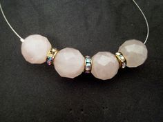 Rose quartz large faceted rounds Swarovski by TashinkaBeadingHeart