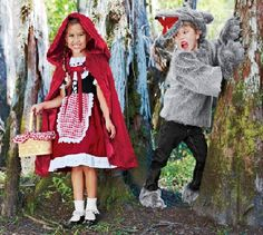Homemade Little Red Riding Hood and Wolf Costume for Halloween
