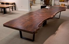 When you buy from Urban Hardwoods you're buying salvaged wood furniture that's solid, sustainably sourced, and has a story to tell. Wood Slab Table, Hardwood Table, Timber Table, Hardwood Furniture, Log Furniture, Wooden Tables, Live Edge Wood, Live Edge Table, Dinning Room Tables