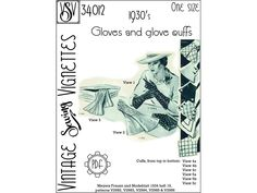 1930's Gloves and glove cuffs (One size) PDF sewing pattern [VSV 36012]