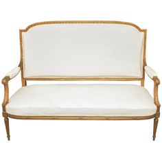 Late 19th C. French Louis XVI-Style Settee   From a unique collection of antique and modern settees at https://www.1stdibs.com/furniture/seating/settees/