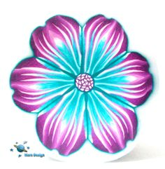 Polymer clay  flower cane - EXOTIC violet  turquoise FLOWER cane  -by Mars. $6.95, via Etsy.