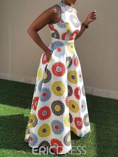 Material Twilled Satin Silhouette Expansion Dress Length FloorLength Sleeve Length Sleeveless Combination Type Single Waist Line StandardWaist Closure Pullover Elasticity MicroElastic Detachable Collar No Pattern Geometric,Color Block Embellishment - f African Maxi Dresses, African Fashion Ankara, Latest African Fashion Dresses, African Dresses For Women, African Print Fashion, African Attire, Ankara Dress Styles, Africa Fashion, African Dress Styles