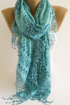 Mint n  navy blue lace scarf oversized shawl scarf lace scarf #fashion #scarf #accessories #gift #mint #forher #formom #valentinesday