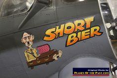 """Military bomber nose art on B-17 """"Short Bier"""" in Ogden, Utah"""