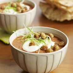 Indian-influenced and elegant, this creamy tomato soup is garnished with crunchy spiced chickpeas. Recipe:Tomato-Coconut Soup with Spiced Chickpeas   - CountryLiving.com