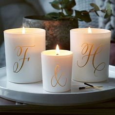 Personalised Couples Candle Set  This beautifully scented glass candle set is carefully etched with the initials of your choice. A smaller scented glass votive will glow and be softly illuminated by candlelight when lit. Find it at Illumer London  #candles #personalisedcandle #candlemaking #scentedcandle #candlegift #candleaddict #prettycandle #lovecandles #homewares #weddinggift #weddingcandels #candles #candlelight #tablesetting #tabledecor #thankyougift #birthday #birthdaygifts #handmadewithlove #gifts #personalisedgifts #stylematters #amatterofstyle