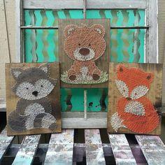 Cadena de amigos de bosque arbolado arte animales cadena arte