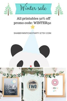 50% off all printables in the shop. Use WINTER50 at checkout. http://shabbymintchicparty.etsy.com. Valid until Dec 25th.