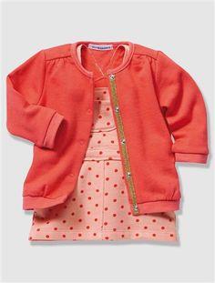 Ensemble bébé fille cardigan + salopette molleton BLEU NUIT+CORAIL - vertbaudet  enfant Ensemble Bébé b6ade5d956f