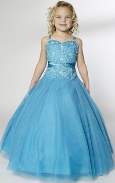 Unique Ball Gown Ankle-length Straps Blue Organza Dress