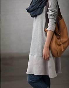 Cool gray sweatshirt dress with jeans, navy scarf, tan leather bag Just perfect