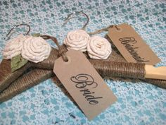 RUSTIC CHIC WEDDING hangers personalized brides hanger/name hangers/rustic chic custom gift. $19.95, via Etsy.