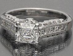 1.70 CT. ASSCHER CUT CERTIFIED DIAMOND ENGAGEMENT 18K WHITE GOLD RING | eBay