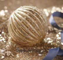 Gold Ribbed Glass Bauble With Glitter & Pearls