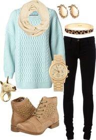 Mint painted sweater + black skinnies + tan booties + scarf?