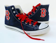 Red Sox Converse shoes by certainclouds on Etsy