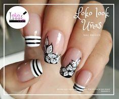 Síguenos en facebook. Elegant Nail Art, Pretty Nail Art, Cute Nail Art, Get Nails, Fancy Nails, Love Nails, Fabulous Nails, Perfect Nails, Basic Nails