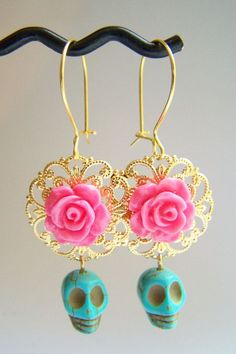 Day of The Dead Earrings with Turquoise Skulls & Coral Pink Roses by polishedtwo, $12.50