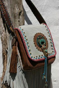 for the hippie spirit.Cognac leather with grey suede handmade bag by NIZHO Ethno Style, Gypsy Style, Hippie Style, Bohemian Style, Hippie Bohemian, Boho Gypsy, Hippie Vibes, Hippie Accessoires, Estilo Hippie Chic