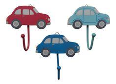 Single CAR Wall or Door Hook - Red & Blue - Boys Bedroom - Sass & belle