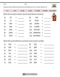 Our Roman Numerals Worksheet page has a range of worksheets involving reading and writing Roman numerals. Number Words Worksheets, Math Addition Worksheets, Printable Preschool Worksheets, 1st Grade Worksheets, 50 Roman Numeral, Homeschool Math, Homeschooling, Fourth Grade Math, Bar Graphs