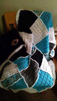 Patchwork Turquoise and White Crib blanket. Crochet handmade baby blanket
