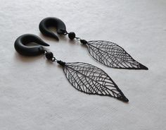 Black Skeleton Leaf Gauged Earrings by TheCreatorsCreations, $23.00