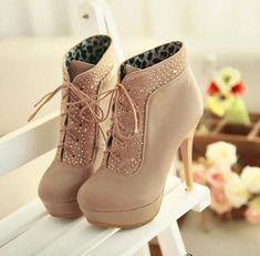 Czech Rhinestones stiletto heel two ways of wear style beige shoes High Heel Boots Beige Shoes, Women's Shoes, Me Too Shoes, Shoe Boots, Ankle Boots, Ugg Boots, Shoes Style, Fall Boots, Court Shoes