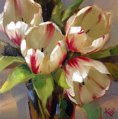 White and red striped tulips in a bouquet. Spring Tulips, spring flowers. Green leaves Krista Eaton - Поиск в Google