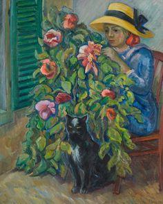 Nikolay Alexandrovich Tarkhov   (Russia, 1871–1930)  ON THE TERRACE (HYDRANGEA WITH A CAT)  (1925)
