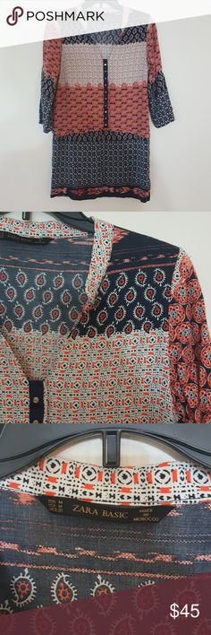 Zara Basics Print Top Medium ZARA BASICS Multi Color Patterned Paisley Henley Neck 3/4 Sleeve Shirt Dress M. Good condition. The Hem on the right sleeve has come undone needs to be sewn shown in last pic. Otherwise no rips, stains or deffects. Zara Tops Tunics