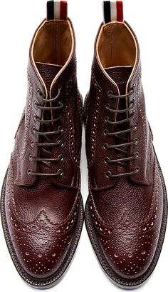 Thom Browne: Brown Pebbled Leather Wingtip Boots