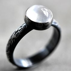White Moonstone Ring, Snow White Gemstone Oxidized Sterling Silver Ring Metalsmithed - Made to Order - Specter. $90.00, via Etsy. The Sly Fox