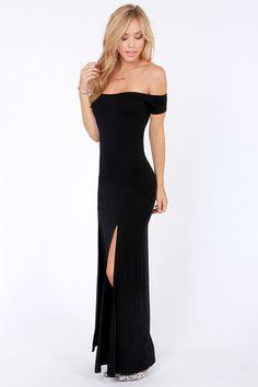 Sexy Black Dress - Maxi Dress - Off-the-Shoulder Dress - $46.00