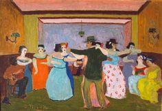 Cabaret oil on canvas Cabaret, America Latina, Tango Art, Dance Paintings, Virtual Art, 1940s, Oil On Canvas, Art Gallery, Childhood