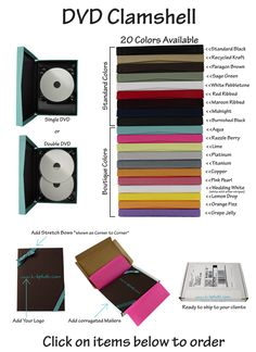 This is where we currently order our DVD Clamshells from. We've been using the titanium color with bellyband ribbons in cream or platinum.