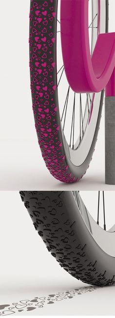 """Spread the love"" bike tire treads."
