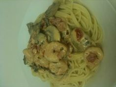 Pasta with Shrimp in Tomato Cream- Made this for a romantic Valentine's dinner... So yummy!!