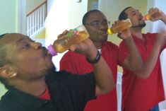 Couple's baby shower game? Have all the guys see who can down a bottle of applejuice the fastest. So entertaining!