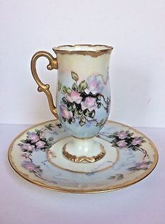 Antique LIMOGES FRANCE D & C Pedestal Demitasse Cup & Saucer Pink Roses Gilt