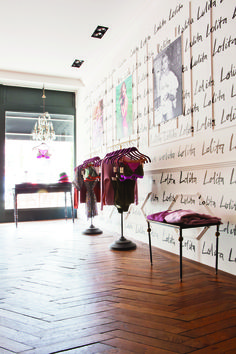 Lolita walls at the Love Stories boutique in Amsterdam www.lovestoriesintimates.com Photography by Barbara de Hosson